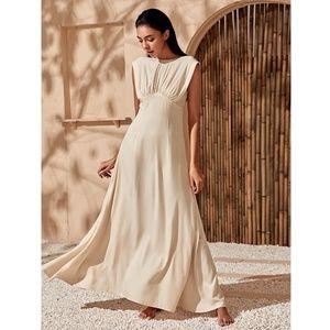 Beige Maxi Flared Elegant Dress